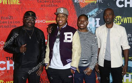 """Lil Rel Howery, Lena Waithe, Jason Mitchell, Ntare Guma Mbaho Mwine. Lil Rel Howery, from left, Lena Waithe, Jason Mitchell and Ntare Guma Mbaho Mwine attend a """"The Chi"""" For Your Consideration event at the DGA Theater, in Los Angeles"""