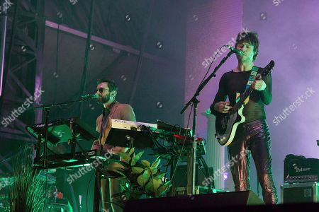 Stock Picture of Benjamin Goldwasser, Andrew VanWyngarden. Benjamin Goldwasser, left, and Andrew VanWyngarden of MGMT perform at the 2018 BUKU Music + Art Project at Mardi Gras World, in New Orleans