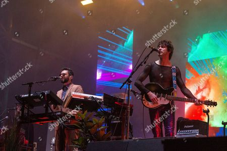 Stock Image of Benjamin Goldwasser, Andrew VanWyngarden. Benjamin Goldwasser, left, and Andrew VanWyngarden of MGMT perform at the 2018 BUKU Music + Art Project at Mardi Gras World, in New Orleans