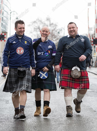 Stock Photo of Ireland vs Scotland. Scotland fans Dave Millen, David Curry and Matt Reid