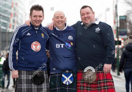 Ireland vs Scotland. Scotland fans Dave Millen, David Curry and Matt Reid