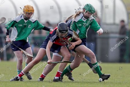 St. Angela's Waterford vs St. Mary's New Ross. St. Angela's Jody Tuohy with Niamh O'Shea and Kate Foley of St. Mary's