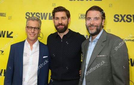 """Brad Fuller, John Krasinski, Andrew Form. Brad Fuller, John Krasinski and Andrew Form arrive for the world premiere screening of """"A Quiet Place"""" during the South by Southwest Film Festival at the Paramount Theatre, in Austin, Texas"""