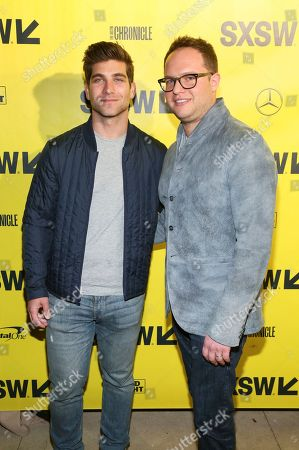 """David Bernon, Sam Slater. Producers David Bernon, left, and Sam Slater arrive for the world premiere screening of """"Support the Girls"""" during the South by Southwest Film Festival at the Zach Theatre, in Austin, Texas"""