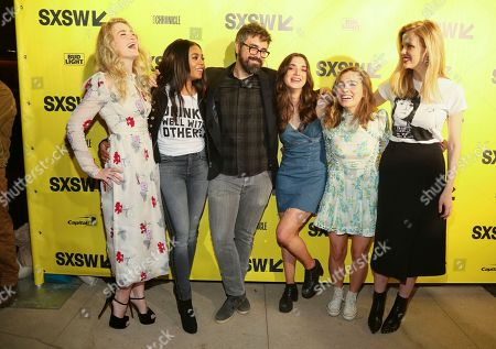 """AJ Michalka, Regina Hall, Andrew Bujalski, Dylan Gelula, Haley Lu Richardson, Brooklyn Decker. AJ Michalka, Regina Hall, director Andrew Bujalski, Dylan Gelula, Haley Lu Richardson, and Brooklyn Decker, from left, arrive for the world premiere of """"Support the Girls"""" during the South by Southwest Film Festival at the Zach Theatre, in Austin, Texas"""