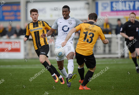 Liam Davis Of Torquay United in action against Joe Anderson Of Maidstone United during the Vanarama National League match between Maidstone United v Torquay United on March 10th 2018 at the Gallagher Stadium, Maidstone, Kent England. (Photo by Gareth Davies/PPAUK)