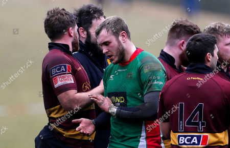 Stock Picture of Dan Williams, Captain of Plymouth Albion looks dejected after losing during the National Division 1 match between Ampthill v Plymouth Albion at Dillingham Park, Ampthill, Bedfordshire on March 10th 2018, UK.