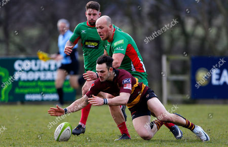 Stock Picture of Matt Crosscombe of Plymouth Albion challenges for the ball with Sam Baker of Ampthill during the National Division 1 match between Ampthill v Plymouth Albion at Dillingham Park, Ampthill, Bedfordshire on March 10th 2018, UK.
