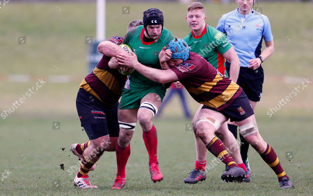 George Mills of Plymouth Albion is tackled by Jack Culverhouse of Ampthill and Joe Bercis of Ampthill during the National Division 1 match between Ampthill v Plymouth Albion at Dillingham Park, Ampthill, Bedfordshire on March 10th 2018, UK.