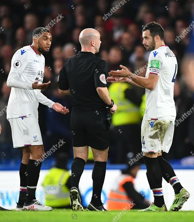 Luka Milivojevic of Crystal Palace complains to Referee Andy Taylor after  Alexander Sorloth goal is disallowed