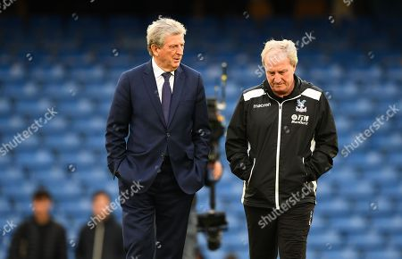 Roy Hodgson manager of Crystal Palace and his assistant Ray Lewington inspect the pitch ahead of the kick off