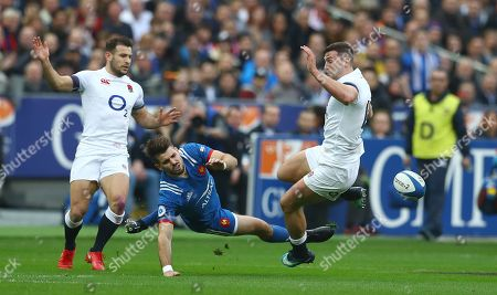 Stock Picture of Hugo Bonneval of France and Jonny May of England collide leading to Bonneval going off injured