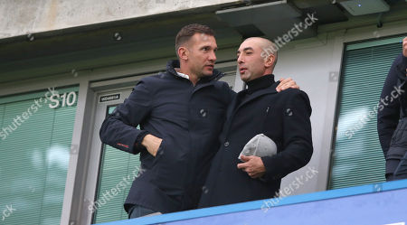 Andriy Shevchenko and Roberto Di Matteo watch Chelsea v Crystal Palace from the stands at Stamford Bridge Stadium during the Premier League match between Chelsea and Crystal Palace on the 10th March 2018 at the Stamford Bridge Stadium, London.