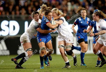 France Women vs England Women. France's Gaelle Hermet with Abbie Scott and Tamara Taylor of England