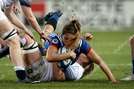 France Women vs England Women. France's Marjorie Mayans and Tamara Taylor of England