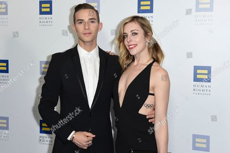 Adam Rippon, Ashley Wagner. Adam Rippon, left, and Ashley Wagner attend the 2018 Human Rights Campaign Los Angeles Dinner at the JW Marriott L.A. Live, in Los Angeles