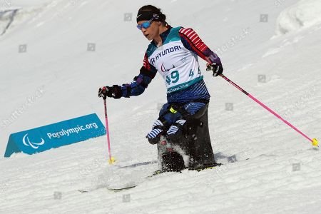 Oksana Masters of United States compete in the Cross-Country Skiing Sitting Women's 12km event at the Alpensia Biathlon Centre during the 2018 Winter Paralympics in Pyeongchang, South Korea
