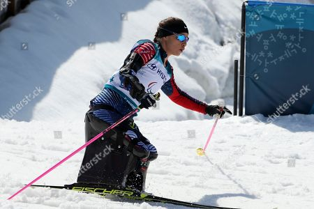 Oksana Masters of United States competes in the Cross-Country Skiing Sitting Women's 12km event at the Alpensia Biathlon Centre during the 2018 Winter Paralympics in Pyeongchang, South Korea