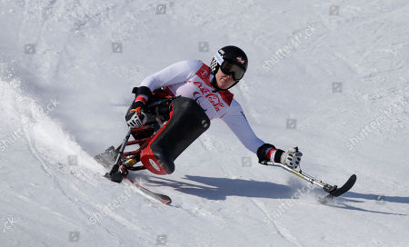 Claudia Loesch of Austria competes in the women's super-G, sitting, at the 2018 Winter Paralympics in Jeongseon, South Korea