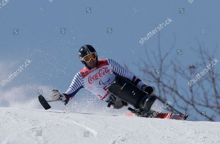 Frederic Francois of France competes in the men's super-G, sitting, at the 2018 Winter Paralympics in Jeongseon, South Korea