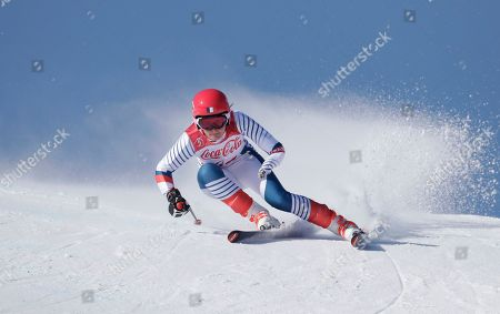 Marie Bochet of France competes in the women's super-G, standing, at the 2018 Winter Paralympics in Jeongseon, South Korea