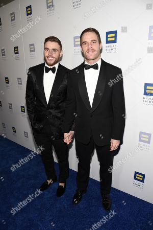 Gus Kenworthy, Matthew Wilkas. Olympian Gus Kenworthy, left, and Matthew Wilkas seen at the 2018 Human Rights Campaign Los Angeles Dinner at JW Marriott L.A. Live, in Los Angeles