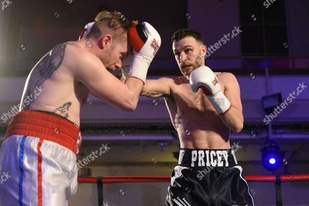 Alfie Price (black shorts) defeats Liam Richards during a Boxing Show at the Camden Centre on 10th March 2018