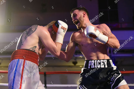 Stock Photo of Alfie Price (black shorts) defeats Liam Richards during a Boxing Show at the Camden Centre on 10th March 2018