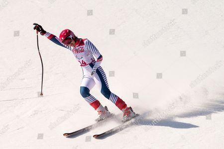 Marie Bochet of France reacts in the finish area during the women Alpine Skiing Super G - Standing race in the Jeongseon Alpine Centre in the Jeongseon Alpine Center during the Winter Paralympics 2018 in Pyeongchang, South Korea, 11 March 2018.