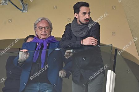 Fiorentina's Diego Della Valle (L) with the brother of Davide Astori react during the tribute in memory of late Italian ACF Fiorentina player Davide Astori prior to the Italian Serie A soccer match ACF Fiorentina vs Benevento Calcio at Artemio Franchi stadium in Florence, Italy, 11 March 2018.