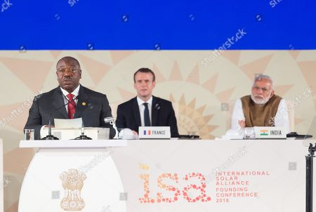 Ali Bongo Ondimba, Emmanuel Macron and Narendra Modi.  French President Emmanuel Macron and Indian Prime Minister Narendra Modi attend the founding conference of the International Solar Alliance