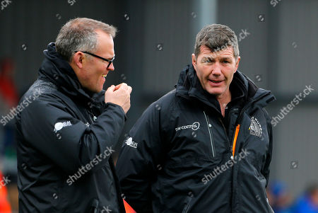 Stock Photo of Exeter Chiefs Assistant Coach, Robin Hunter talks with Exeter Chiefs Director of Rugby, Rob Baxter during the Anglo-Welsh Cup semi-final match between Exeter Chiefs and Newcastle Falcons at Sandy Park on March 11th 2018, Exeter, Devon (