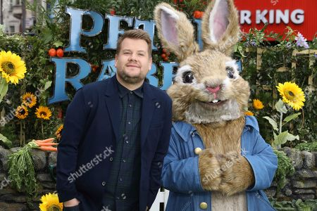 James Corden, Peter Rabbit. Actor James Corden poses for photographers on arrival at the premiere of the film 'Peter Rabbit', in London
