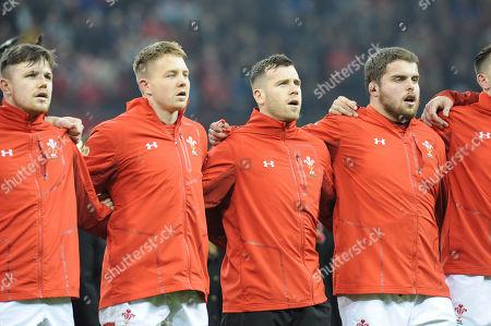 Steff Evans, James Davies, Gareth Davies and Nicky Smith during the anthem