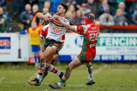 Bradford Bulls winger Dalton Grant (5) scores a try to make the score 0-28 during the Betfred League 1 match between Keighley Cougars and Bradford Bulls at Cougar Park, Keighley. Picture by Simon Davies