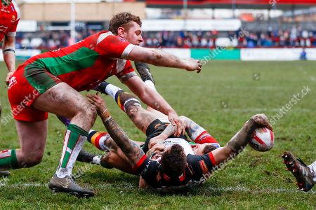 Bradford Bulls interchange George Flanagan (21) scores a try during the Betfred League 1 match between Keighley Cougars and Bradford Bulls at Cougar Park, Keighley. Picture by Simon Davies