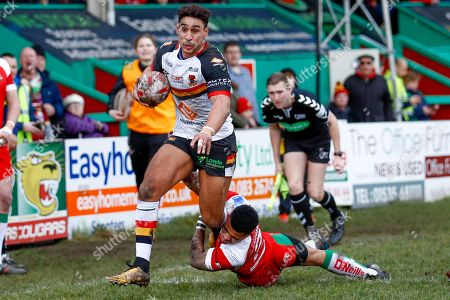 Bradford Bulls winger Dalton Grant (5) is stopped from reaching the try line during the Betfred League 1 match between Keighley Cougars and Bradford Bulls at Cougar Park, Keighley. Picture by Simon Davies
