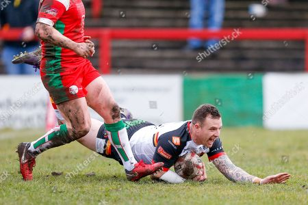 Bradford Bulls interchange George Flanagan (21) scores a try to make the score 0-14 during the Betfred League 1 match between Keighley Cougars and Bradford Bulls at Cougar Park, Keighley. Picture by Simon Davies