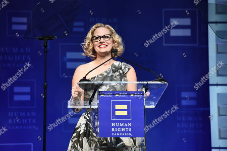 U.S. Congresswoman Kyrsten Sinema seen at the 2018 Human Rights Campaign Los Angeles Dinner at JW Marriott L.A. Live, in Los Angeles