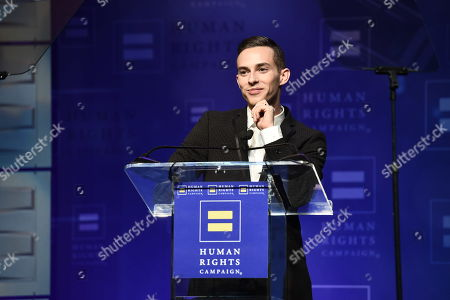 Olympian and HRC Visibility Award recipient Adam Rippon seen at the 2018 Human Rights Campaign Los Angeles Dinner at JW Marriott L.A. Live, in Los Angeles
