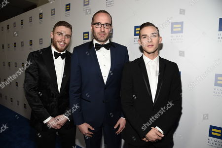 Gus Kenworthy, Chad Griffin, Adam Rippon. From left, Olympian Gus Kenworthy, HRC President Chad Griffin, and Olympian Adam Rippon seen at the 2018 Human Rights Campaign Los Angeles Dinner at JW Marriott L.A. Live, in Los Angeles