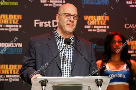 Lou DiBella addresses members of the media at the press conference for the Showtime Championship boxing card from Barclays Center.