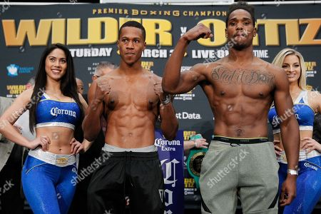 Patrick Day (left) and Kyrone Davis (right) pose for the media during the weigh-in for their fight Saturday night at Barclays Center in Brooklyn