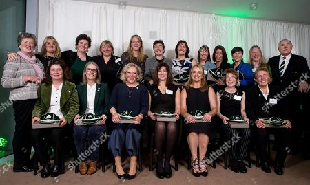The First Ireland Women's Rugby Squad From 1993. Pictured (L-R Back Row) Mary O'Beirne (First IRWFU President) Kim Donohoe, Kathryn Henessy, Anne Parsons, Therese Kennedy, Cath Burgess, Tanya Waters, Eileen McGrann, Deirdre Fitzgerald, Ciara McNaughton, Niki Ordman and IRFU President Philip Orr. (L-R Front Row) Joanne Moore, Aoife Rodgers, Trina Watt, Jill Henderson, Cath Mulalley, Clare Hoppe and Zoe Fordham