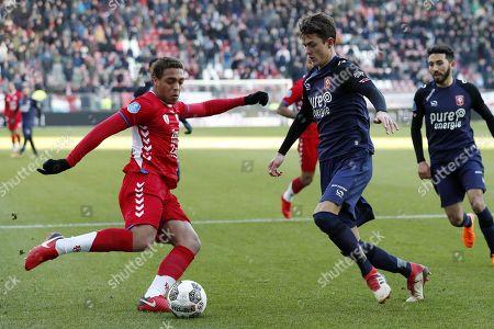 (L-R) Cyriel Dessers of FC Utrecht, Thomas Lam of FC Twente, Christian Cuevas of FC Twente