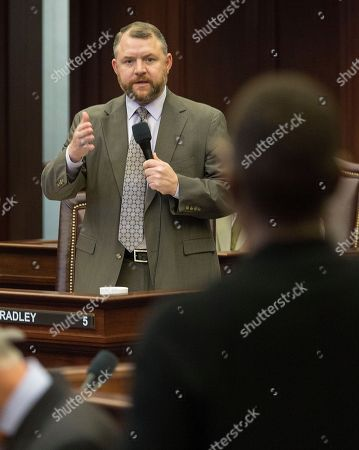 Florida Sen. Bob Bradley (R-Orange Park)answers questions on a bill in the final 2018 legislative session at the Florida State Capitol in Tallahassee, Fla., . The ending of the legislative session in Florida is called Sine Die and is signaled with the ceremonial dropping of the handkerchief from the Florida House and Senate