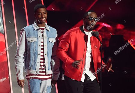 "Sean ""Diddy"" Combs, King Combs. Sean ""Diddy"" Combs, right, and his son King present the Hip-Hop Song of the Year award during the 2018 iHeartRadio Music Awards at The Forum, in Inglewood, Calif"