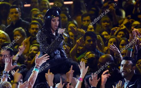 Cardi B performs during the 2018 iHeartRadio Music Awards at The Forum, in Inglewood, Calif