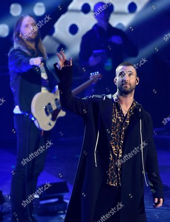 Singer Adam Levine performs with Maroon 5 during the 2018 iHeartRadio Music Awards at The Forum, in Inglewood, Calif