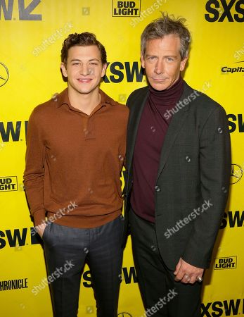 "Tye Sheridan, Ben Mendelsohn. Tye Sheridan, left, and Ben Mendelsohn, arrive for the world premiere of ""Ready Player One"" during the South by Southwest Film Festival at the Paramount Theatre, in Austin, Texas"